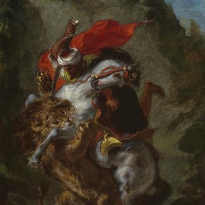 Арабский всадник сражается со львом