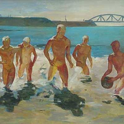 Мальчики, выбегающие из воды