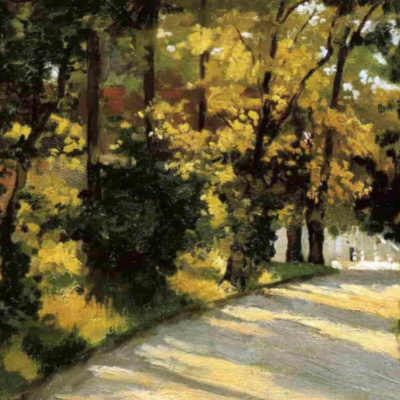Yerres, path through the woods in the park