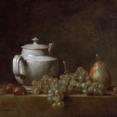 Still life with teapot, grapes, chestnuts and a pear