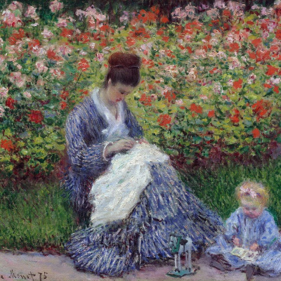 Camille Monet with a child