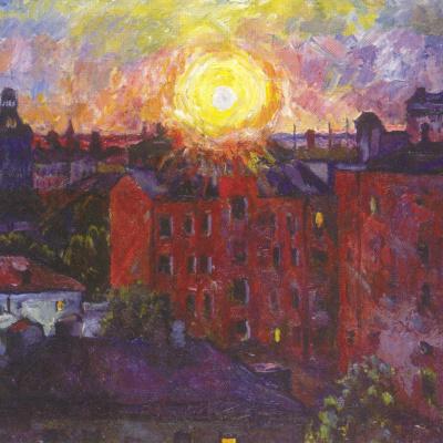 Солнце над крышами. Закат