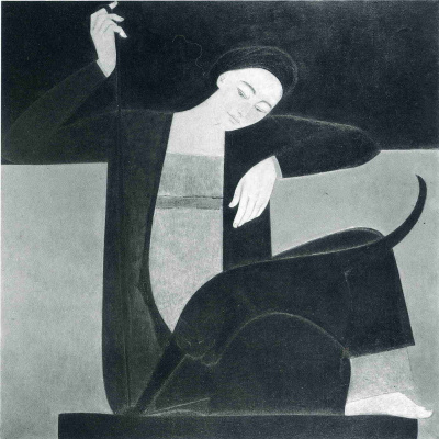 Will Barnet. Girl plays with a black cat