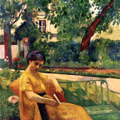 Jeanne in yellow dress, Neuilly