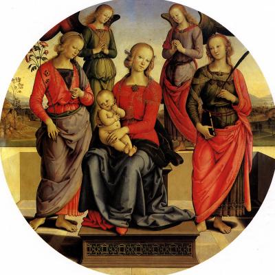 Франсуа Перуджино. Мадонна с младенцем в окружении ангелов, Святой Розы и Святой Екатерины