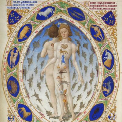 Великолепный Часослов герцога Беррийского. Анатомия человека или Знаки зодиака