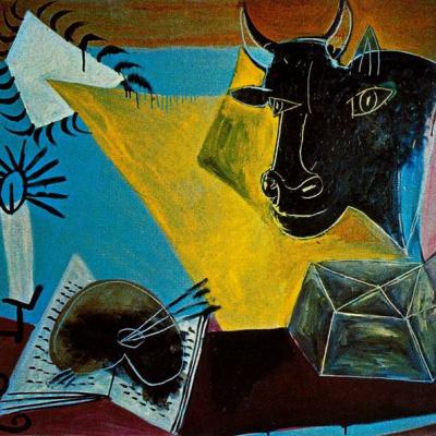 Натюрморт с головой черного быка