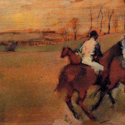 Jockeys and horses