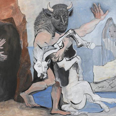 Minotaur with dead horse in the cave before the girl in a veil