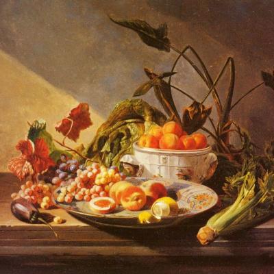 Натюрморт с фруктами и овощами на столе