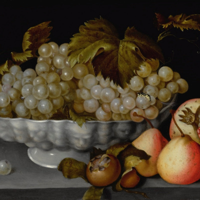 A Still Life Of A Porcelain Bowl Of Grapes On A Stone Ledge With A Medlar, Quinces, A Pomegranate And A Wasp