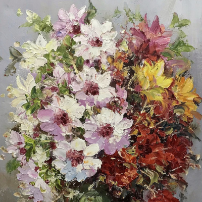 Multicolored bouquet in a green vase N2
