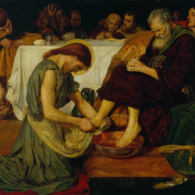 Jesus washes the feet of Peter