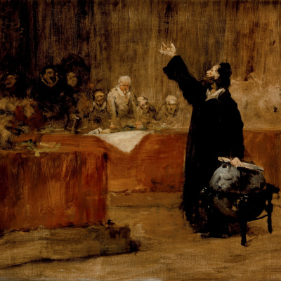 Christopher Columbus before the Council of Salamanca. Sketch