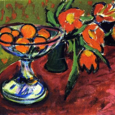 Натюрморт с апельсинами и тюльпанами