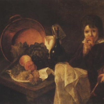 Still life with fruit and a child with a doll