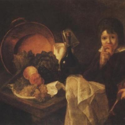Натюрморт с фруктами и ребенок с куклой