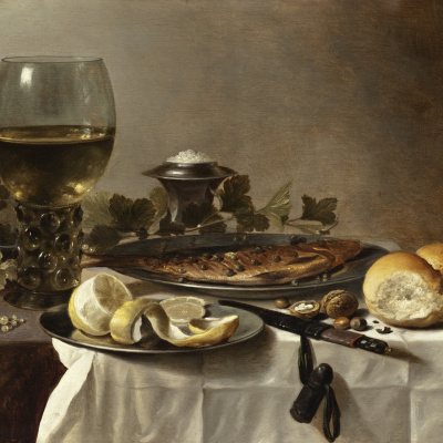Still life with fish, wine and bread