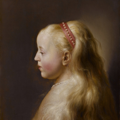 Portrait of a young girl in profile