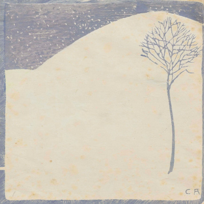 Куно Амье. Зимний пейзаж с одиноким деревом