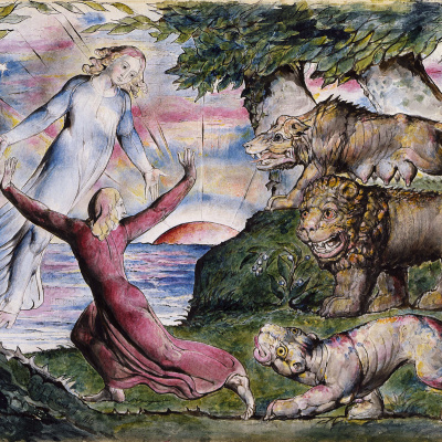 """Dante running from three beasts. Illustrations for """"The Divine Comedy"""""""