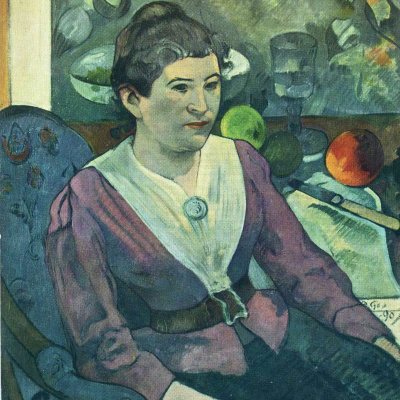 Portrait of a woman next to a still life by Cezanne