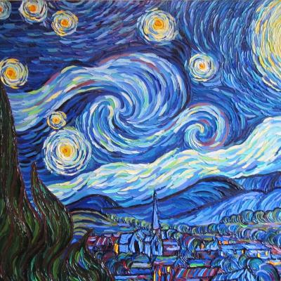 Starlight Night. Free copy of Vincent van Gogh