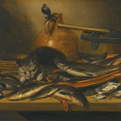 Натюрморт со свежей речной рыбой, кувшином, сачком и кошкой