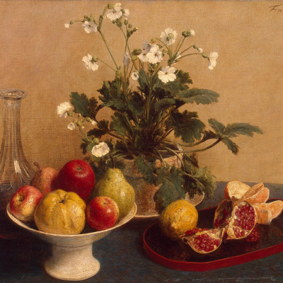 Flowers, fruit bowl and a decanter