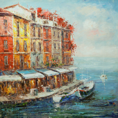 Christina Viver. Boats at the restaurant promenade