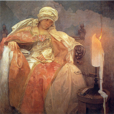 Alphonse Mucha. Woman with a burning candle