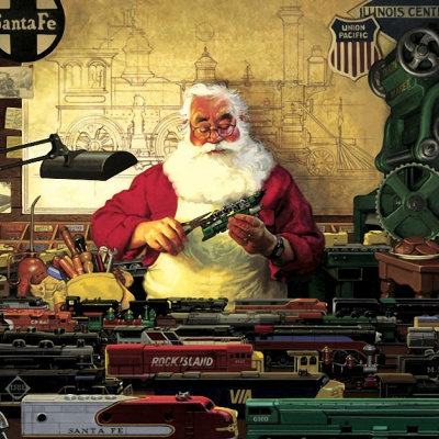 Santa and his trains