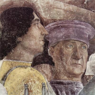 Andrea Mantegna. Meeting of Duke Lodovico Gonzaga and cardinal Francesco Gonzaga, fragment: Autoportret Mantegna. Camera degli Sposi