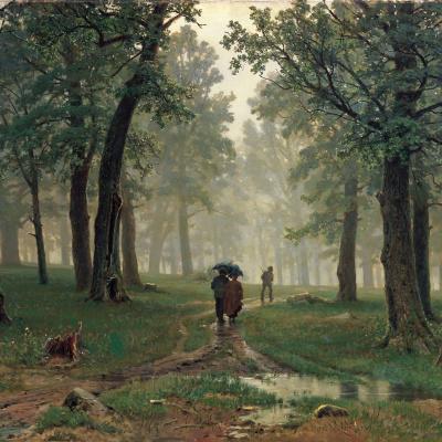 Дождь в дубовом лесу