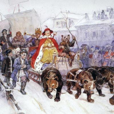 Большой маскарад в 1722 году на улицах Москвы с участием Петра І и князя И.Ф. Ромодановского