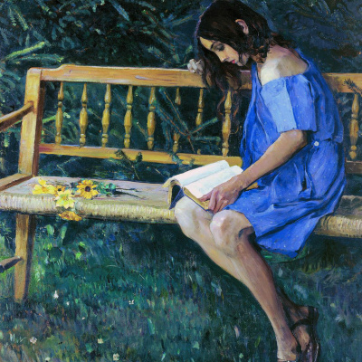 Natasha Nesterova on a garden bench