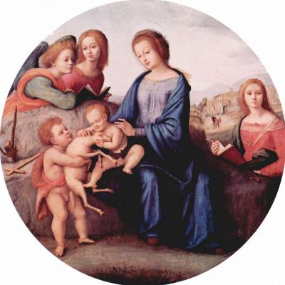 Пьеро ди Козимо. Мадонна с Иоанном Крестителем, св. Маргаритой и ангелами, тондо