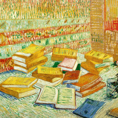 Still life with French novels and a rose
