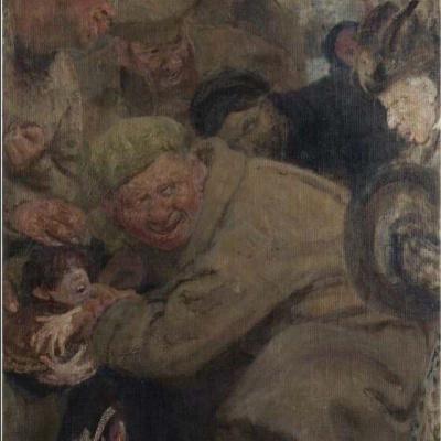 The Bolsheviks (red Army, consuming the bread of the child)