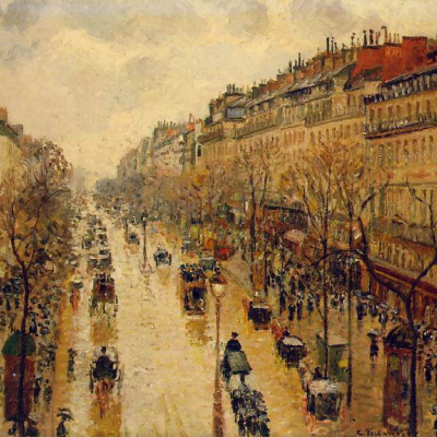 The Boulevard Montmartre. After lunch in the rain.