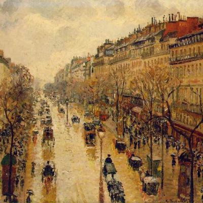 Бульвар Монмартр. После обеда в дождь.