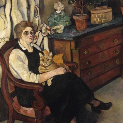 Портрет мисс Лили Уолтон с кошкой