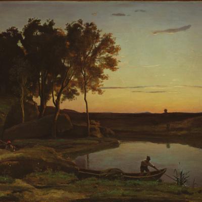 Пейзаж с озером и лодочником