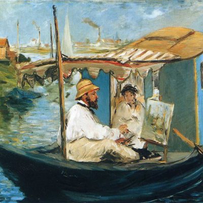 Monet and Mrs. Monet in a boat