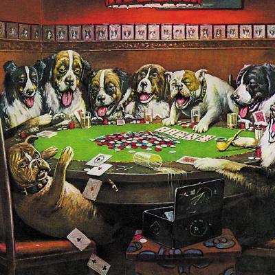 Poker community (dogs playing poker)