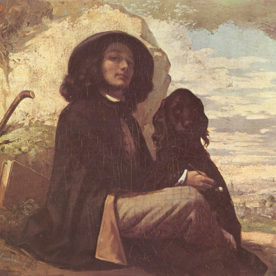 Автопортрет с чёрной собакой