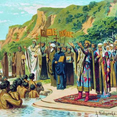 The baptism of Kiev Prince Vladimir. 1880