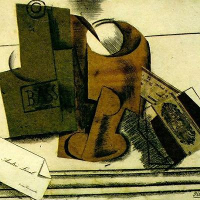 Бутылка Басса, бокал, пачка табака и визитная карточка