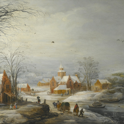 Winter landscape with travelers. (joint with Jos de Momper Jl)