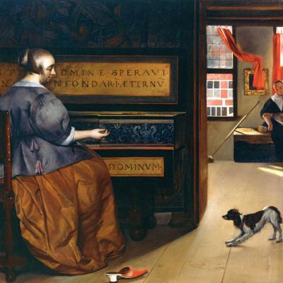 Женщина за виржиналом и собака